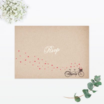 Hearts & Bicycles RSVP - Wedding Stationery