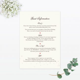 Hearts & Bicycles Additional Information - Wedding Stationery
