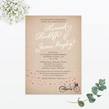 Hearts and Bicycles Sample - Wedding Stationery