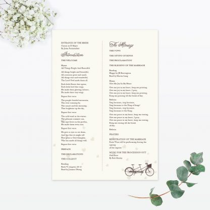 Hearts & Bicycles Order of Service - Wedding Stationery
