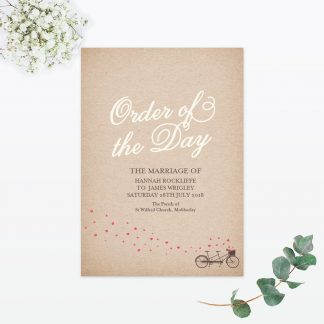 Hearts and Bicycles Order of the Day - Wedding Stationery