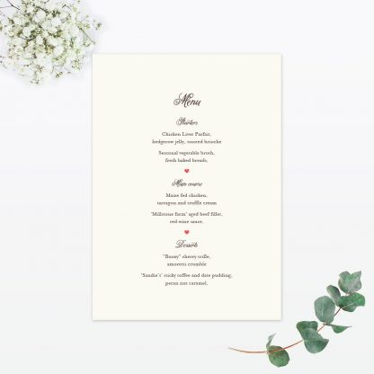 Hearts & Bicycles Table Menu - Wedding Stationery