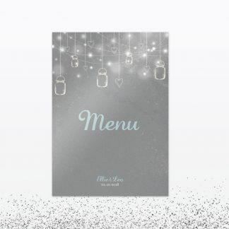 Hearts and Lanterns Table Menu - Wedding Stationery