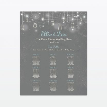 Hearts and Lanterns Table Plan - Wedding Stationery