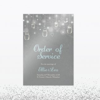 Hearts and Lanterns Order of Service - Wedding Stationery