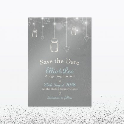 Hearts and Lanterns Save The Date - Wedding Stationery
