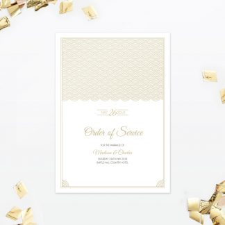 Hollywood Glamour Order Of Service - Wedding Stationery