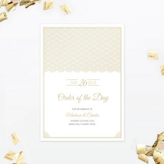Hollywood Glamour Order of the Day - Wedding Stationery