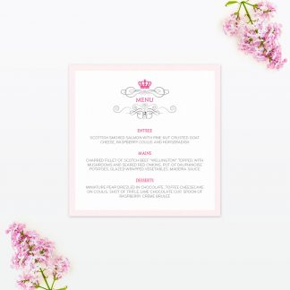 Royal Elegance Table Menu - Wedding Stationery