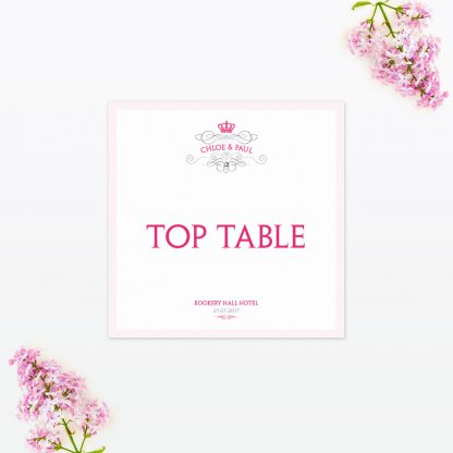Royal Elegance Table Number - Wedding Stationery