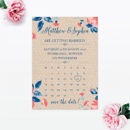 Vintage Floral Save the Date - Wedding Stationery