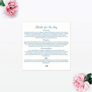 Vintage Floral Additional Information - Wedding Stationery