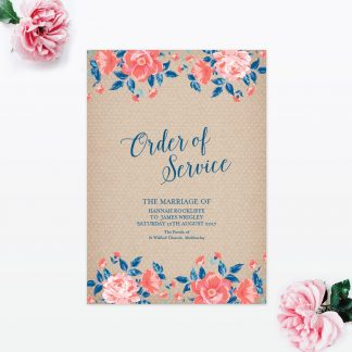 Vintage Floral Order of Service - Wedding Stationery