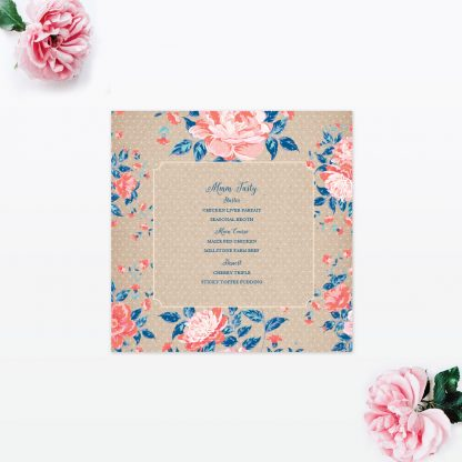 Vintage Floral Table Menu - Wedding Stationery