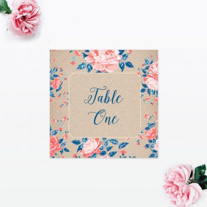 Vintage Floral Table Number - Wedding Stationery