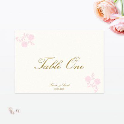 Vintage Rose Table Number - Wedding Stationery