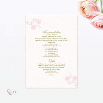 Vintage Rose Additional Information - Wedding Stationery