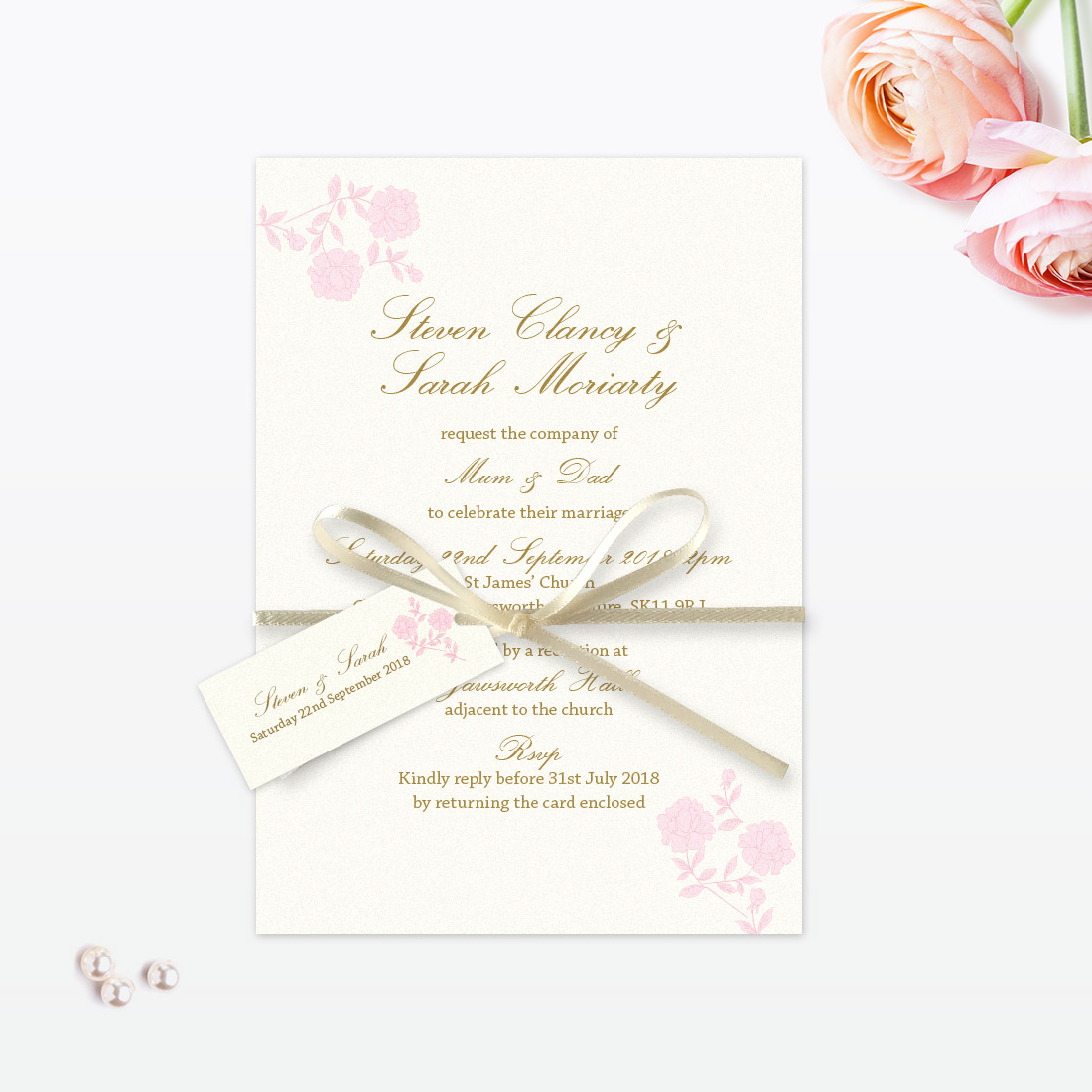 Vintage Rose Evening Invitation - Love Invited - Luxury Wedding ...