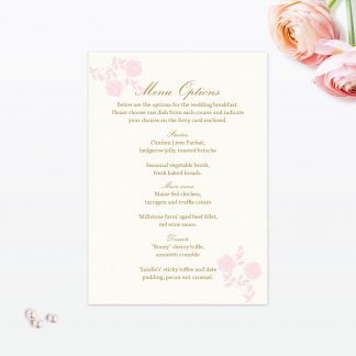 Vintage Rose Invitation Menu - Wedding Stationery