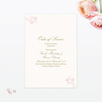 Vintage Rose Order of Service - Wedding Stationery