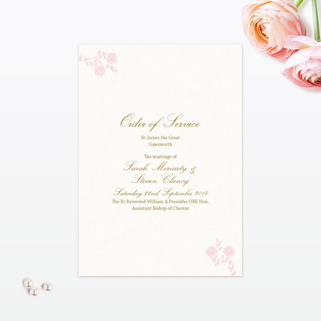 Vintage Rose Order of Service - Love Invited - Luxury Wedding ...