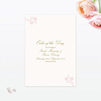 Vintage Rose Order Of the Day - Wedding Stationery