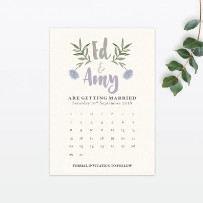 Watercolour Flora Save The Date - Wedding Stationery