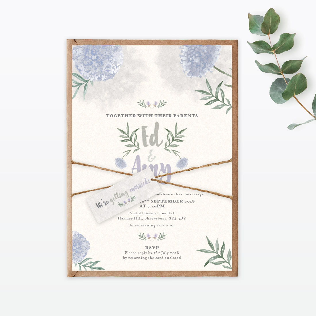 Watercolour Flora Evening Invitation - Love Invited - Luxury Wedding ...