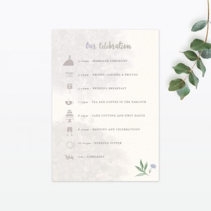 Watercolour Flora Invitation Menu - Wedding Stationery