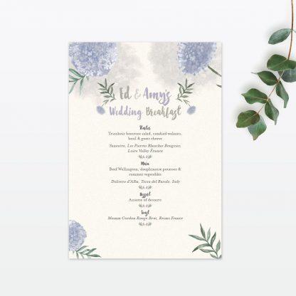 Watercolour Flora Table Menu - Wedding Stationery