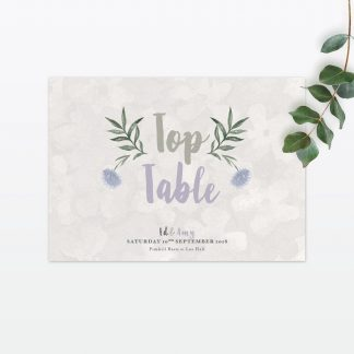 Watercolour Flora Table Numbers - Wedding Stationery