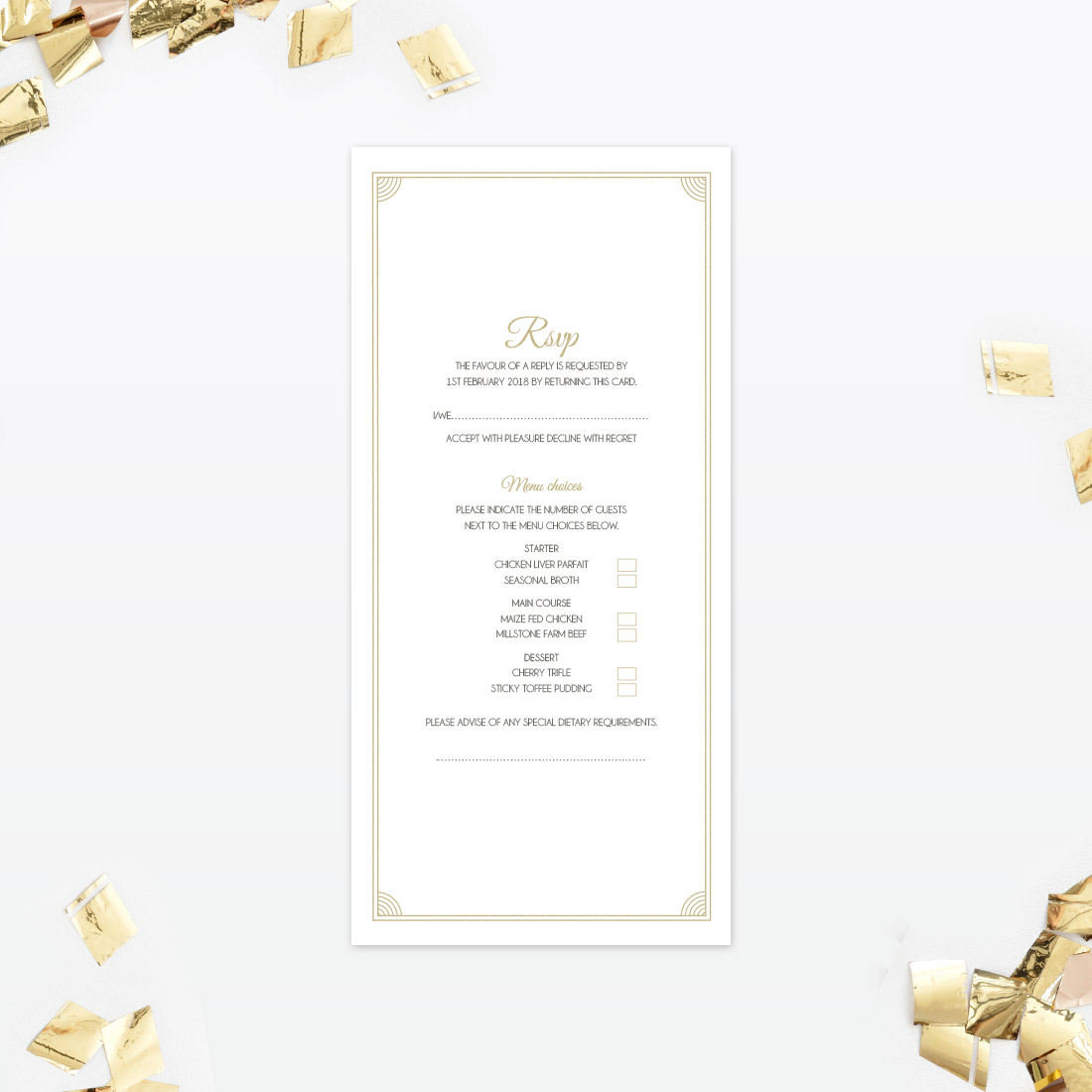 RSVP menu choice wedding wording