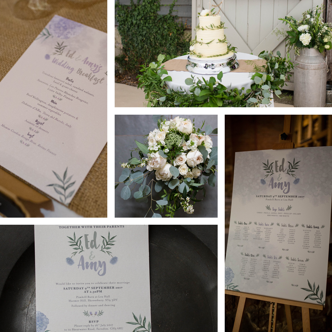 foliage wedding stationery