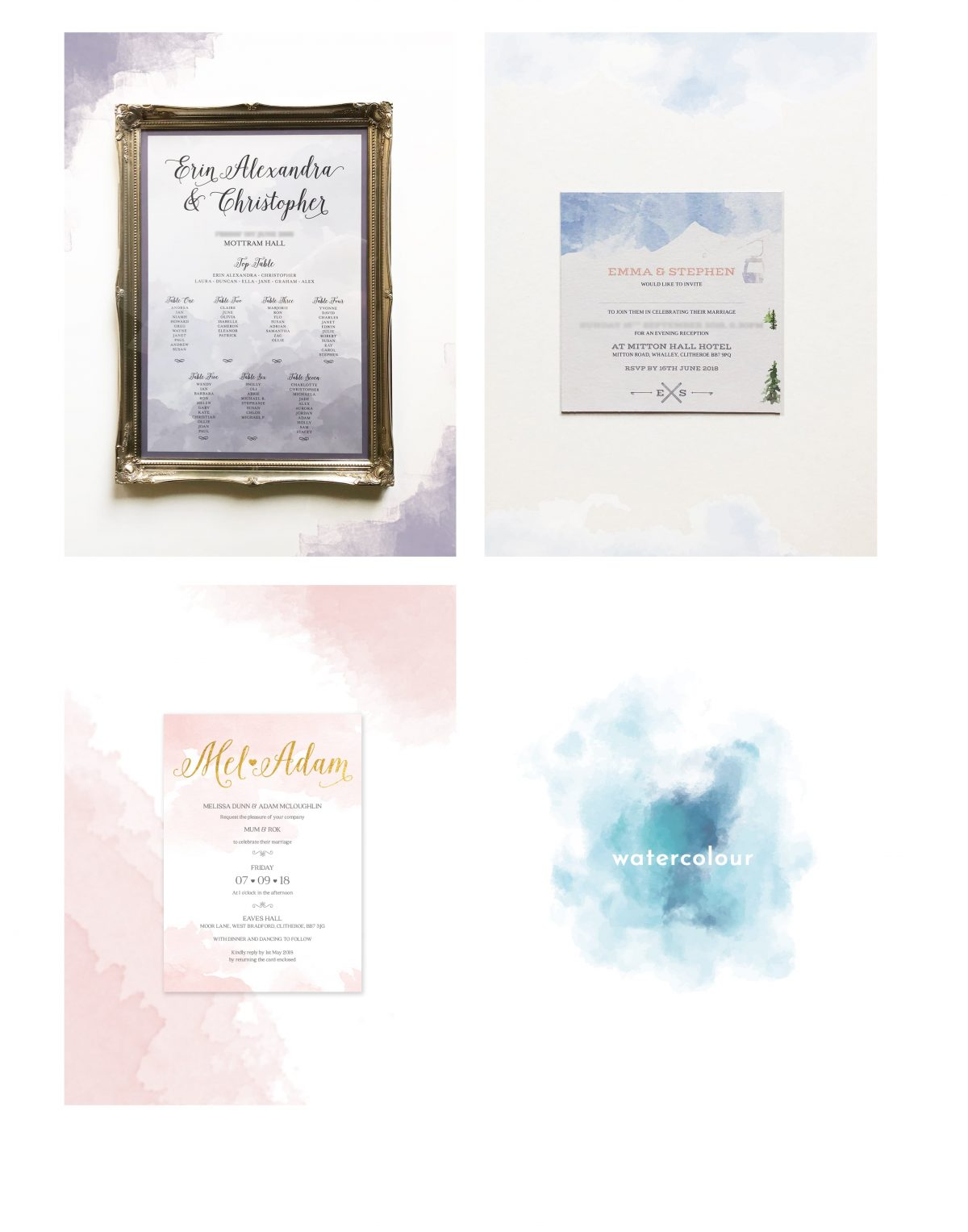 love invited watercolour designs