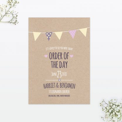 Country Bunting Order of the Day - Wedding Stationery