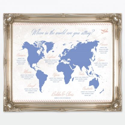 Destination where in the world wedding table plan with frame Love Invited