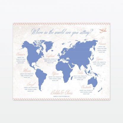 Destination where in the world wedding table plan with frame Love InvitedDestination where in the world wedding table plan Love Invited