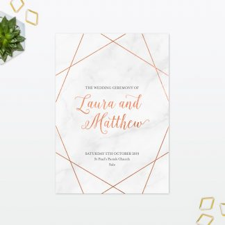 Wedding Geometric Order Of Service Love Invited
