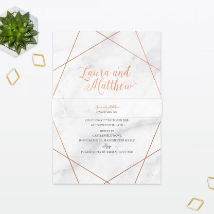 Geometric Wedding Invitation Belly Band Foil Love Invited