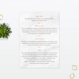 Wedding Information Card Geometric Foil Love Invited
