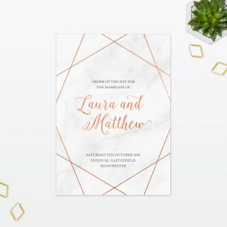 Wedding Passport Order of the day Geometric Foil Love Invited