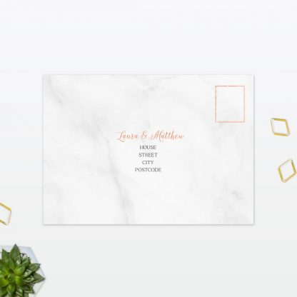Wedding Postcard RSVP Geometric Foil Love Invited