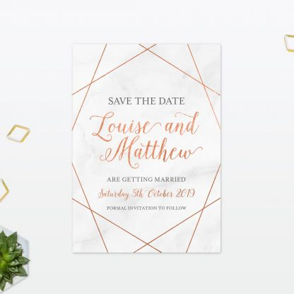 Geometric Save The Date - Wedding Stationery