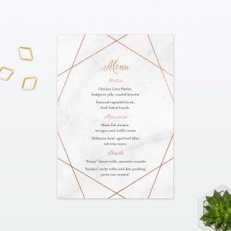 Wedding Table Menu Geometric Foil Love Invited