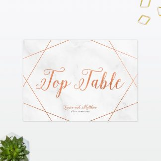 Wedding Table Numbers Geometric Foil Love Invited
