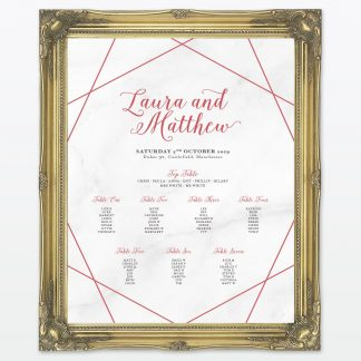 Framed Wedding Table Plan Geometric Love Invited