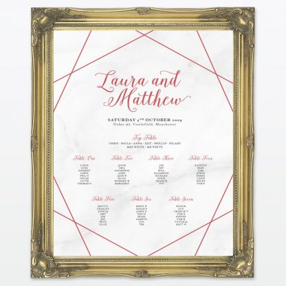 Framed Wedding Table Plan Geometric Love Invited