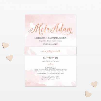 Sweetheart Wedding Invitation Belly Band Love Invited