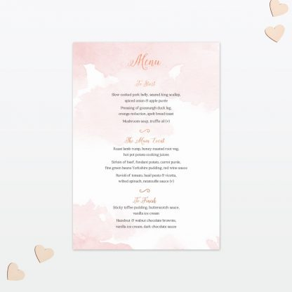 Wedding Table Menu Sweetheart Love Invited
