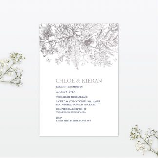 Beautiful Butterfly single card wedding invitation foil Love Invited